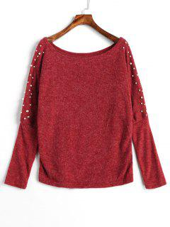 Beads Batwing Sleeve Jumper Sweater - Red Wine Xl