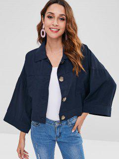 Button Up Batwing Sleeve Crop Jacket - Navy Blue M