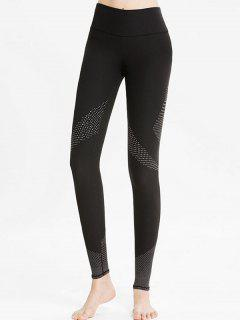 High Rise Geometric Workout Leggings - Black L