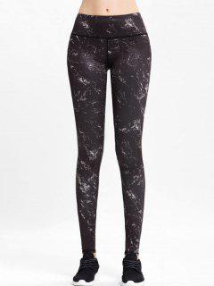 High Rise Marble Sports Leggings - Black L