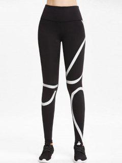High Rise Striped Sports Leggings - Black M