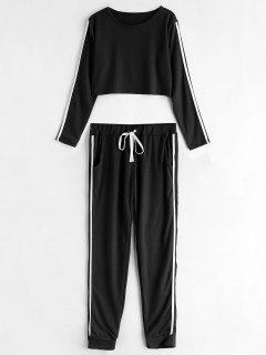 Striped Side Jogger Pants Set - Black L