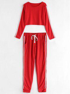 Striped Side Jogger Pants Set - Red M