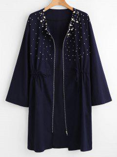 Plus Size Zipper Beaded Coat - Midnight Blue 3x