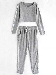 Striped Side Jogger Pants Set - Gray L