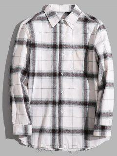 Casual Chest Pocket Check Shirt - Gray S