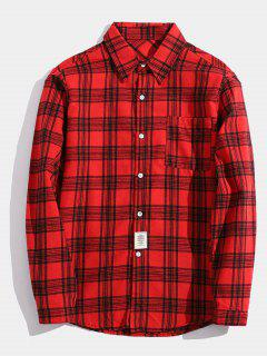 Chest Pocket Patch Detail Plaid Shirt - Red M