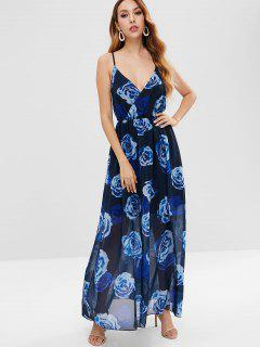 Backless Floral Cami Maxi Dress - Black L