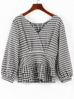 Back Button Plaid Peplum Blouse - Multi L