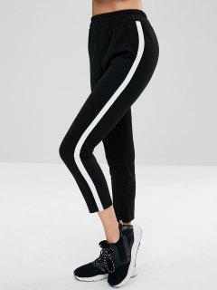 Side Striped Cigarette Pants - Black L