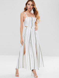 Backless Slit Striped Jumpsuit - White L