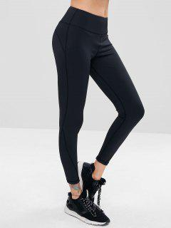 Sporty High Waisted Gym Leggings - Black L