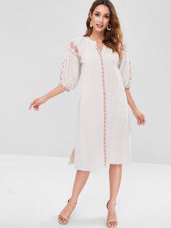Robe Mi-Longue Brodée Bohémienne - Blanc