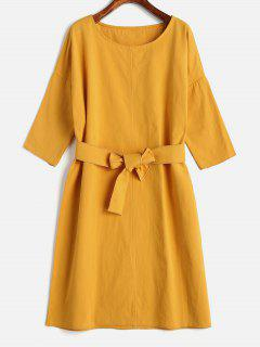 Mini Vestido Recto Con Cinturón - Amarillo Brillante