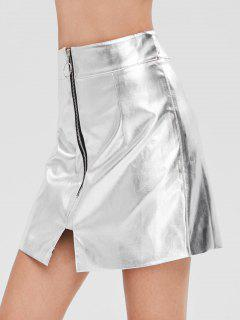 Zip Fly Metallic Skirt - Silver M
