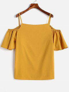 Plus Size Open Shoulder Blouse - Rubber Ducky Yellow 2x