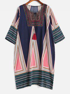 Robe Tribale Brodée Imprimée De Grande Taille - Multi 2x