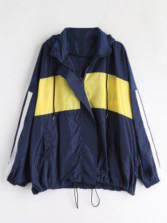 Oversized Color Block Jacket - Blue