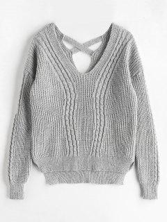 Cross Back Cable Knit Fisherman Sweater - Gray