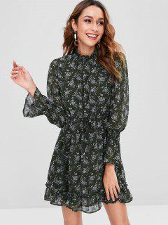 Ruffle Neck Print Dress - Dark Green M