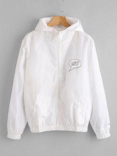 Zip Up Hooded Windbreaker Jacket - White Xl