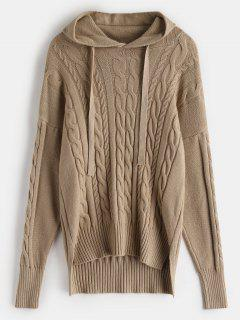 High Low Slit Hooded Cable Knit Sweater - Camel Brown