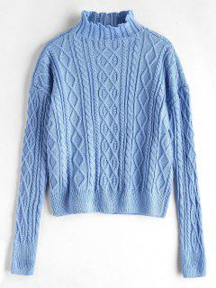 Cable Mixed Knit Mock Neck Sweater - Light Blue