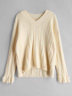 Herringbone V Neck Knitted Sweater - Apricot