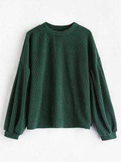 Crew Neck Puff Sleeve Pullover Sweater - Medium Sea Green M