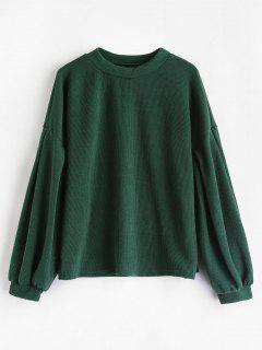 Crew Neck Puff Sleeve Pullover Sweater - Medium Sea Green L