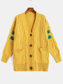 Cable Knit Button Front Fisherman Cardigan - Yellow