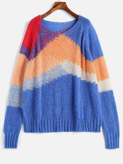Suéter De Punto Suelto De Manga Raglán Color Bloque - Multicolor