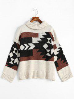 Geometric Graphic Turtleneck Sweater - Beige