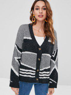 Button Front Jacquard Cardigan - Multi