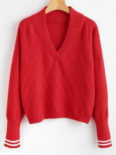 Shawl Collar Striped Sweater - Red