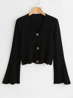 Button Up Flare Sleeves Cardigan - Black