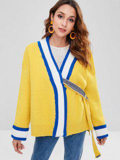 Attached Belt Striped Cardigan - Yellow