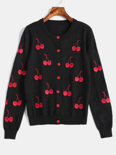 Single Breasted Cherry Embroidered Cardigan - Black