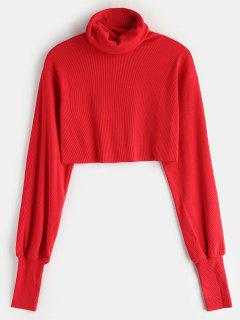 Rib Knit Turtleneck Cropped Sweater - Red S