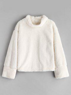 Fluffy Mock Neck Fuzzy Sweatshirt - White S