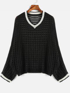 Batwing Sleeve Openwork Sweater - Black