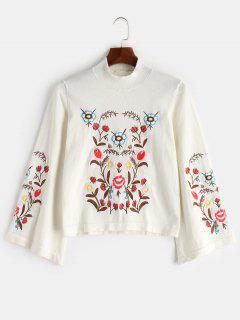 Bell Sleeve Embroidered Sweater - White