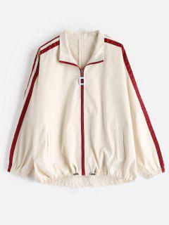 Drop Shoulder Stripe Side Jacket - Crystal Cream