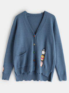 Cartoon Pattern Button Up Cardigan - Peacock Blue