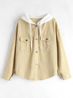 Snap Button Contrasting Jacket - Apricot