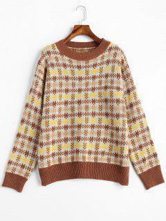 Plaid Drop Shoulder Jumper Sweater - Multi