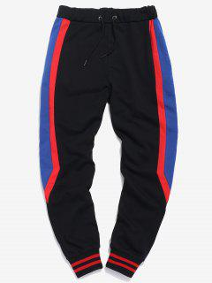 Side Embroidered Letter Striped Jogger Pants - Black S