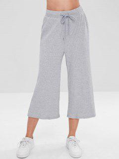 ZAFUL Ribbed Wide Leg Capri Pants - Gray M