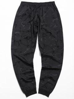 Drawstring Skull Print Jogger Pants - Black M