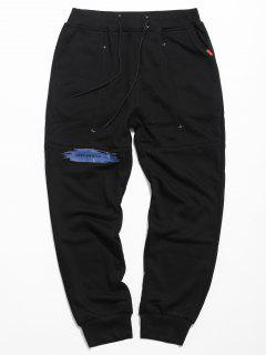 Drawstring Paint Letter Jogger Pants - Black L